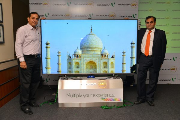 Fm L To R - Mr. CM Singh, COO, Videocon and Mr. Anirudh Dhoot, Director, Videocon at the launch of Videocon  4K Ultra High Definition LED