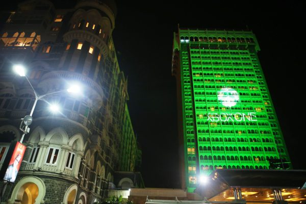 The iconic Taj Mahal Palace in Mumbai is lit up to reflect the launch celebration for Xbox One in India