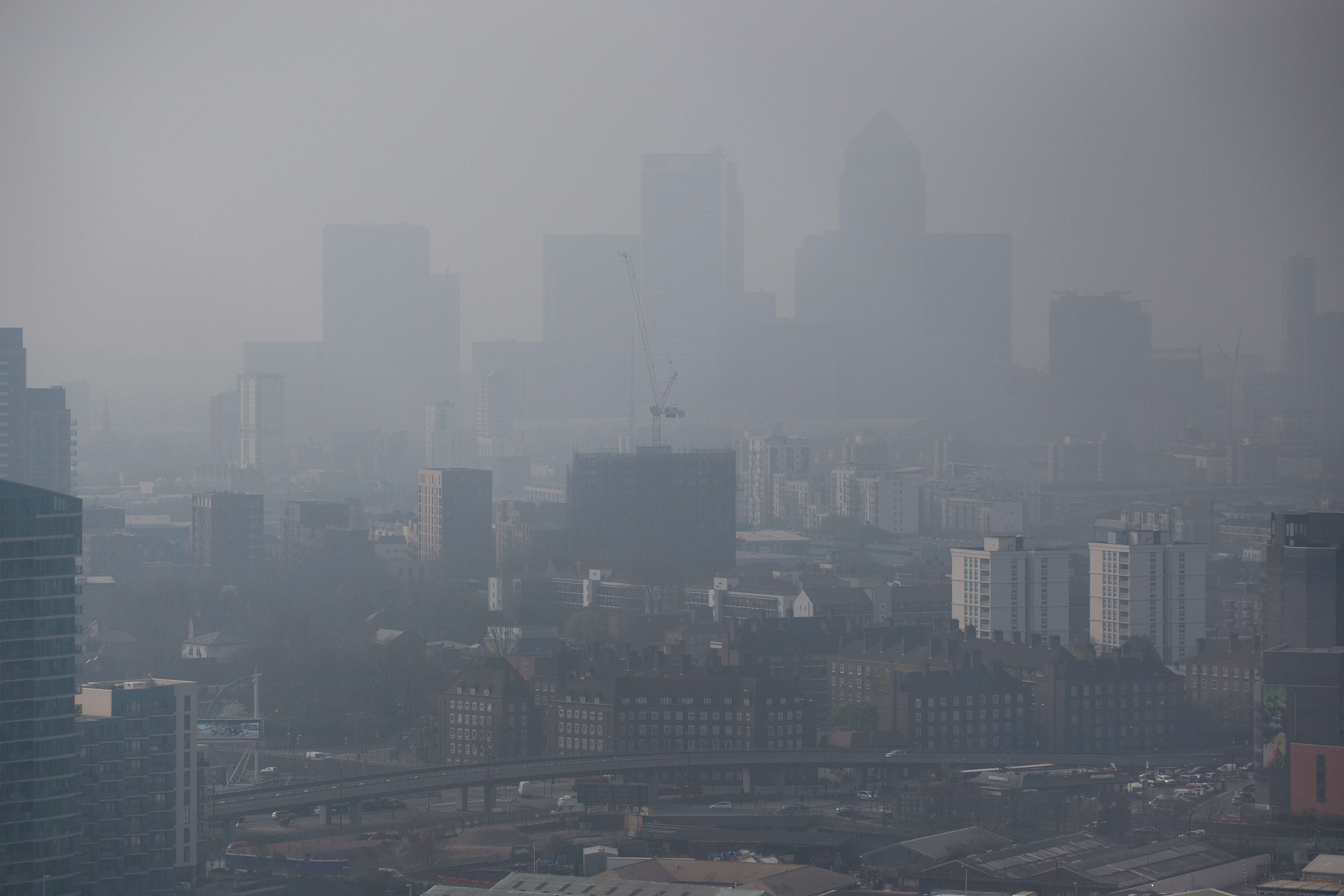 Air pollution hangs in the air lowering