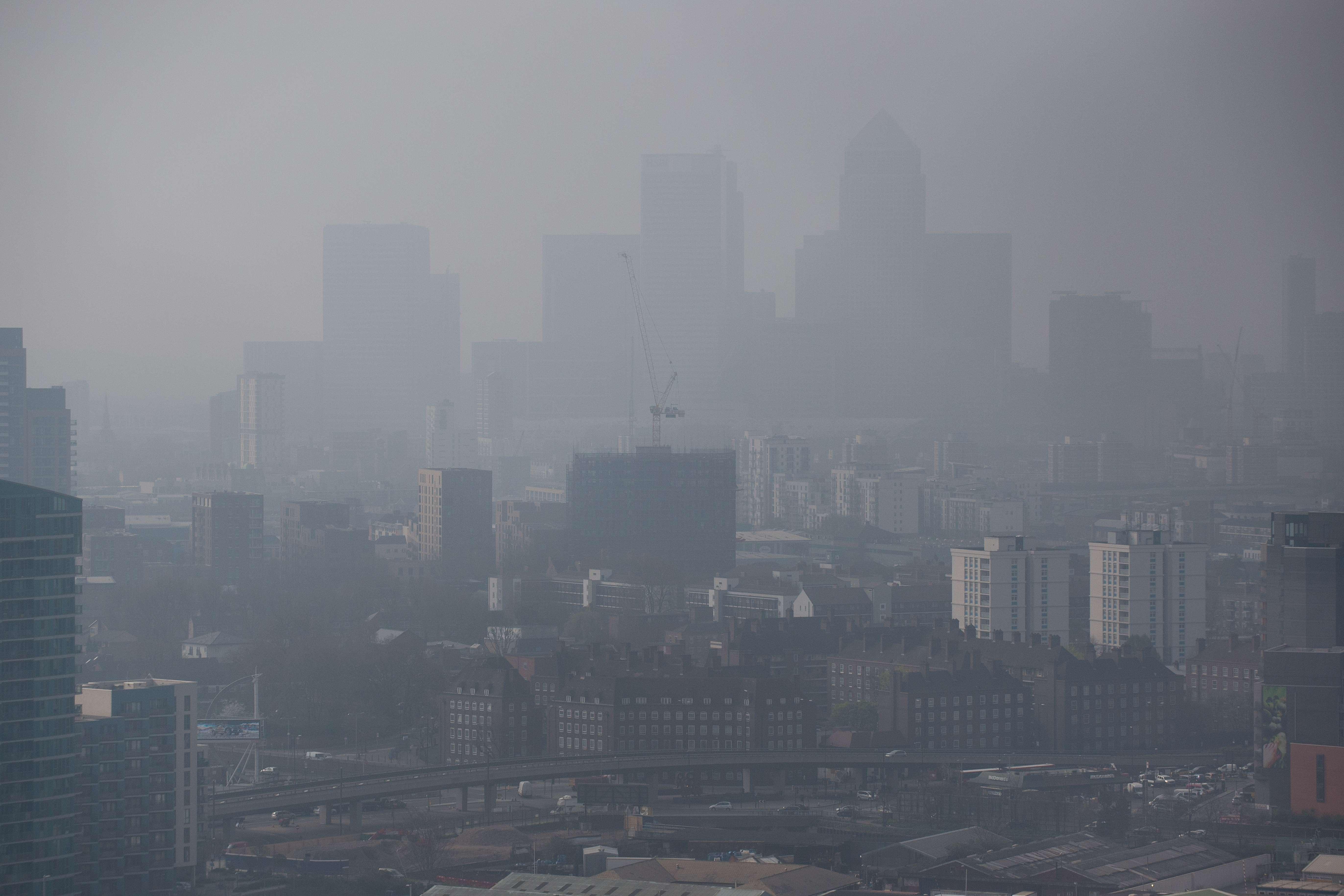 Air pollution hangs in the air lowering