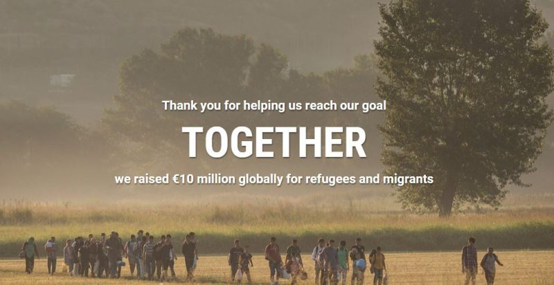 Google says thank you for helping raise €10 million for refugees & migrants in need