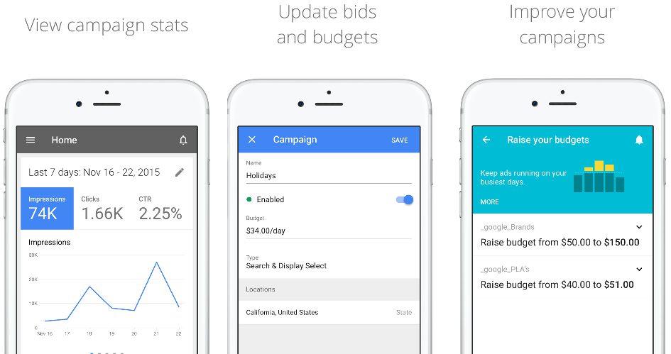 Google AdWords app for iOS