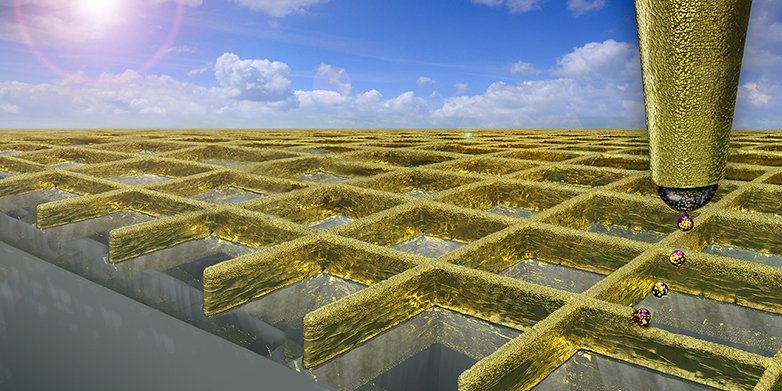 With a special mode of electrohydrodynamic ink-jet printing scientists can create a grid of ultra fine gold walls.