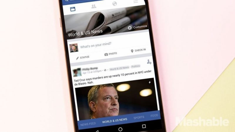 Facebook News Section