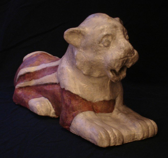 ceramic lion from a temple in long-ago Nuzi
