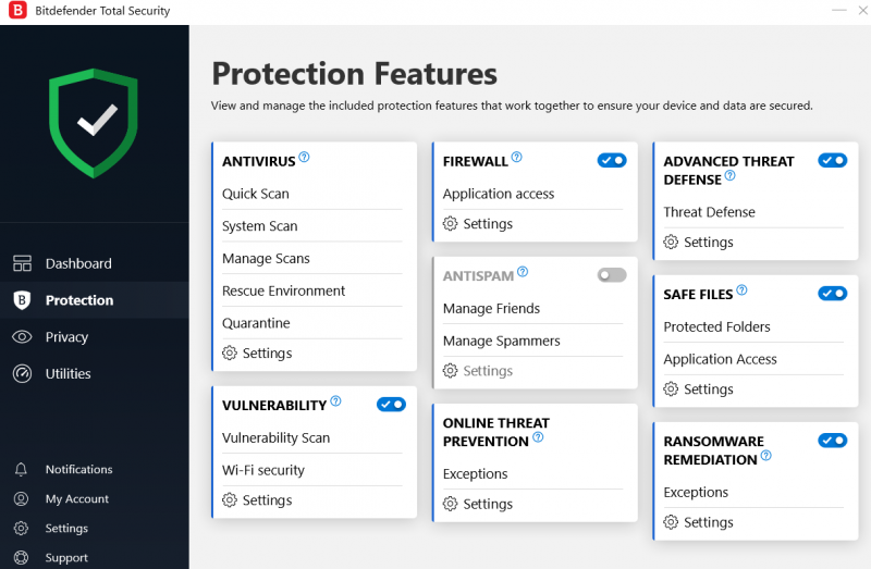 Bitdefender Total Security 2019 Protection Features